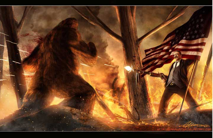 teddy_roosevelt_vs__bigfoot_by_sharpwriter-d3a72w41