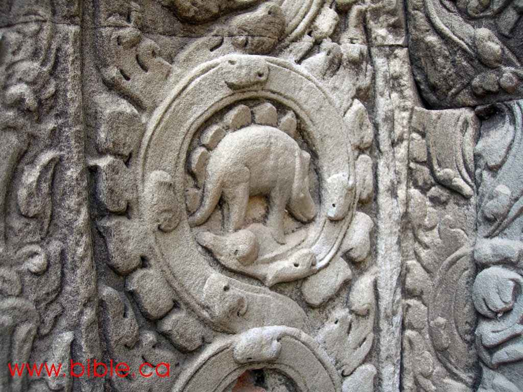 Dinosaurs in ancient Cambodian temple.