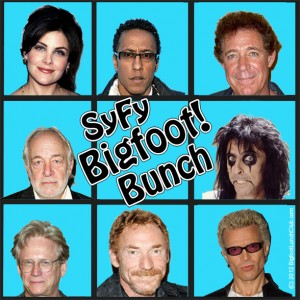 "Cast of Syfy channel's ""Bigfoot!"", clockwise starting top left: Sherilyn Fenn, Andre Royo, Barry Williams, Alice Cooper, Billy Idol, Danny Bonaduce, Bruce Davison and  Howard ""Johnny Fever"" Hesseman. Src: imdb.com"